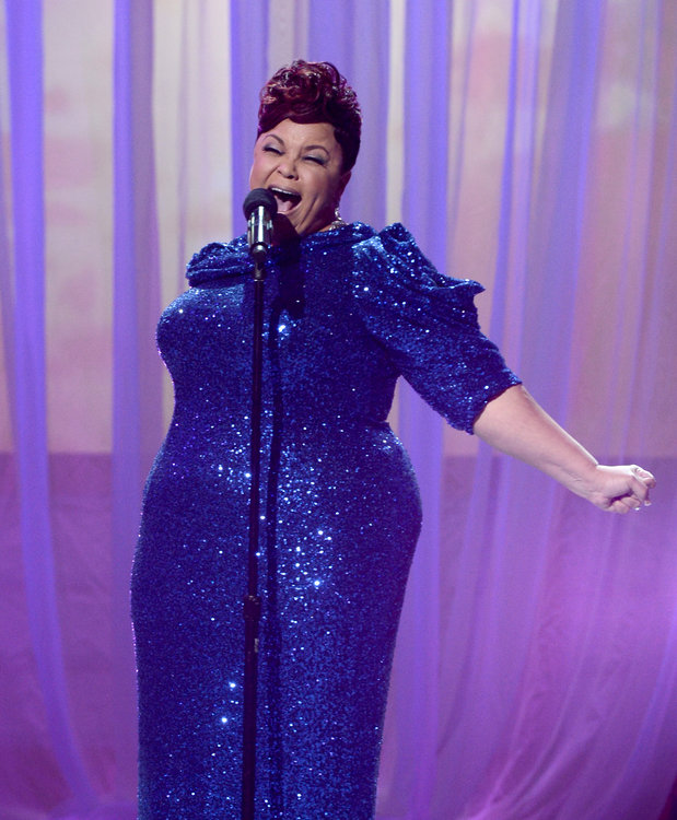 """Tamela Mann brought host Steve Harvey to tears with her #1 hit single, """"Take Me To The King""""."""