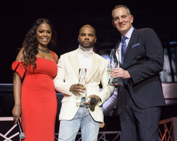 Catherine Brewton, Kirk Franklin and Mike O'Neill pose for a photo onstage at the BMI Trailblazers of Gospel Music Honors at the Rialto Theatre on January 14, 2017, in Atlanta, GA. (Erika Goldring Photo)